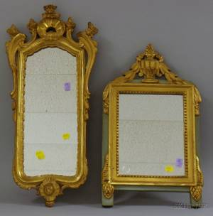 Rococostyle Giltwood and Gesso Mirror and a Neoclassicalstyle Gilt and Greenpainted Wood and Gesso Mirror