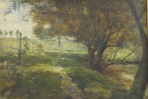 Framed 19th Century American School Oil on Board Landscape with a Cow Near a Pond