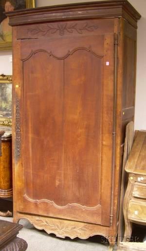 Louis XV Provincial Carved Cherry SingleDoor Armoire