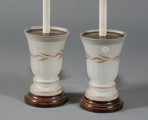 Pair of French Painted and Frosted Glass Lamp Bases