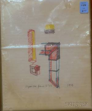 Norman Toynton British 20th Century Untitled Drawing for Wood Frames
