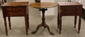 Two Empire Mahogany Veneer TwoDrawer Work Tables and a Chippendalestyle Carved Mahogany Octagonal Tilttop Bi