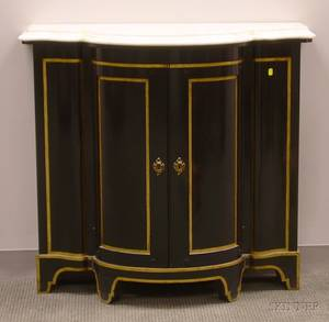 Victorianstyle White Marbletop Gilt and Ebonized Swellfront TwoDoor Side Cabinet
