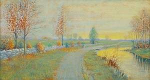 CanadianAmerican School 20th Century Spring Landscape with Path Along the RiverPossibly a Canadian View