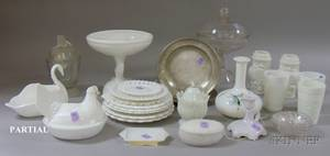 Lot of Assorted Colorless and Milk Glass Items and Two English Pewter Plates