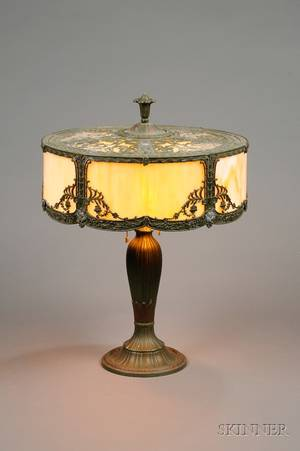 HE Rainaud Painted Cast Metal Table Lamp with Curved Slag Glass Panel Shade