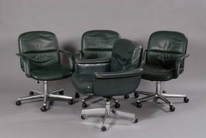 Set of Four Green Leather Upholstered Metal Swivel Office Armchairs