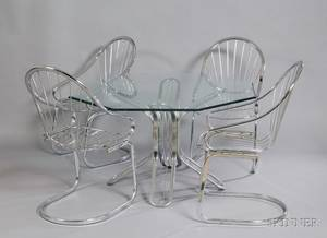 Modern Glasstop Chrome Table and a Set of Four Chrome Armchairs