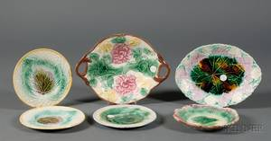 Six Majolica Serving Dishes and Plates