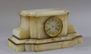 French White Onyx Mantel Clock