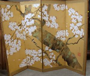Japanese Watercolor and Gouache on Paper Flowering Tree Branch SixPanel Floor Screen