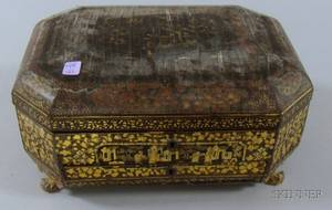 Chinese Export Gilt Decorated Black Lacquered Footed Sewing Box with Contents