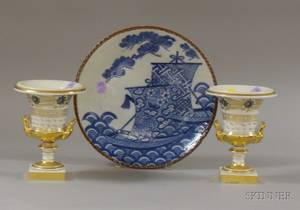 Pair of Paris Porcelain Gilt Decorated Urns and a Japanese Transfer Blue and White Decorated Plate