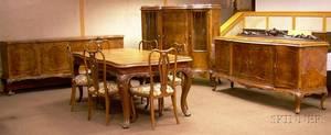 Elevenpiece Louis XV Style Carved Walnut and Burl Veneer Serpentine Dining Room Set