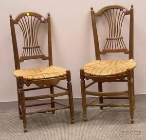 Pair of French Provincial Ash Spindleback Side Chairs with Painted Woven Rush Seats