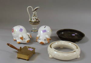 Six Assorted Ceramic and Metal Decorative and Collectible Items