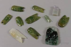 Ten Assorted Carved Jade Pendants and Other Items
