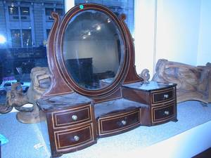 Victorian Inlaid Mahogany Dressing Mirror on Cabinet