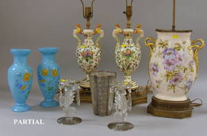 Group of Decorative Glass and Ceramic Table Items