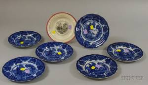 Set of Six Flow Blue Plates and an English Transfer Poor Richards Maxims ABC Staffordshire Plate