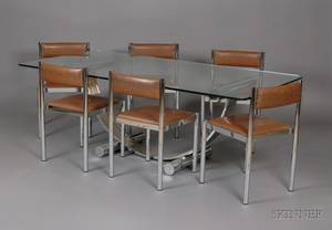 Glasstop Chrome Dining Table and Six Upholstered Chrome Chairs
