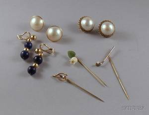 Two Pairs of Mabe Pearl and Gold Earrings a Pair of 14kt Gold and Lapis Earpendants and Three Gold Stickpins