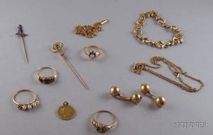Group of Gold and Goldfilled Estate Jewelry