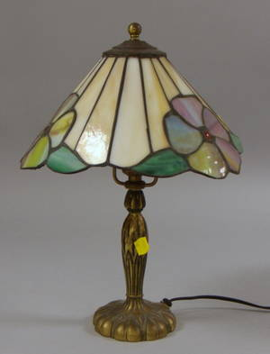 Pairpoint Gilt Cast Metal Table Lamp with Leaded Jeweled and Slag Glass Floral Pattern Shade