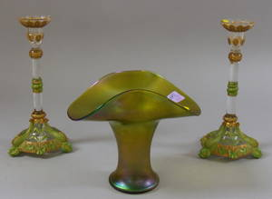 Pair of Painted Molded Glass Candlesticks with Dolphin Base and a Loetztype Iridescent Green Glass Vase