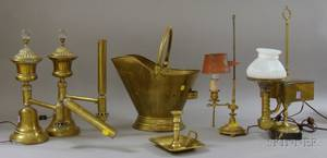 Group of Brass Lighting and Accessories