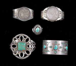 Navajo silver cuff bracelet with turquoise and coral chip inlay