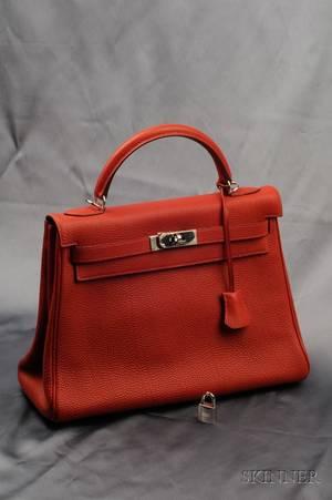 Rouge Leather Kelly Handbag Hermes