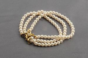 18kt Gold Cultured Pearl and Diamond Bracelet Tiffany  Co