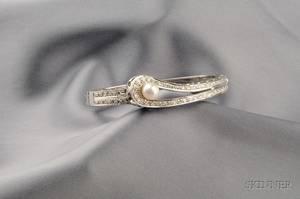 14k White Gold Diamond and Cultured Pearl Bangle Bracelet