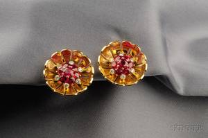 18kt Gold Ruby and Diamond Flower Earclips Aletto Bros