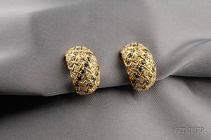 18kt Gold Sapphire and Diamond Earclips Tiffany  Co