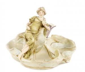 Art Nouveau Royal Dux Figural Vase with Nymph