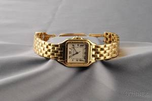 Gentlemans 18kt Gold Panthere Wristwatch Cartier