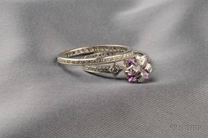 Platinum Amethyst and Diamond Ring Cathy Waterman