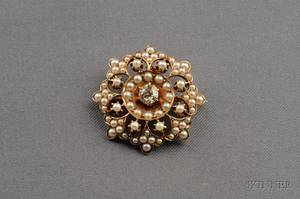 Antique 14kt Gold Seed Pearl and Diamond Brooch