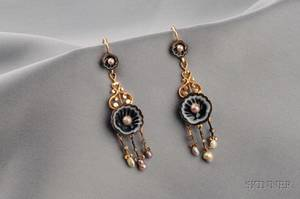 Antique Agate Pearl and Diamond Earpendants