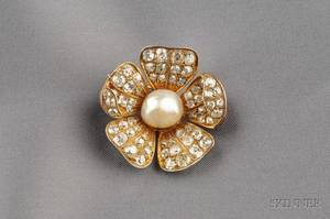 Antique Diamond and Pearl Flower Brooch