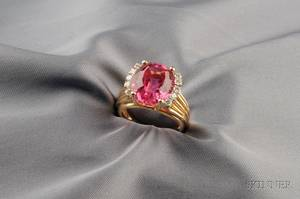 18kt Gold Pink Tourmaline and Diamond Ring