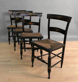 Set of four painted rush seat chairs