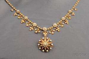 Antique 14kt Gold and Pearl Pendant Necklace