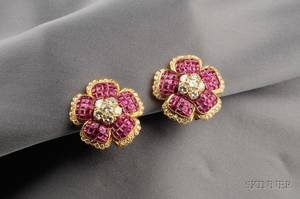 18kt Gold Ruby and Diamond Flower Earclips ZAR