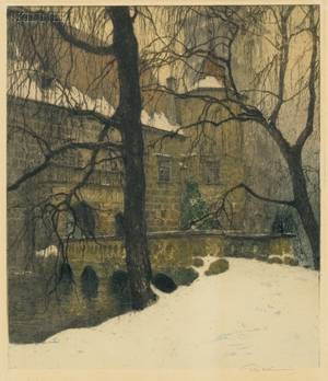 Luigi Kasimir Austrian 18811962 Pottenbrunn  A Winter View in Austria