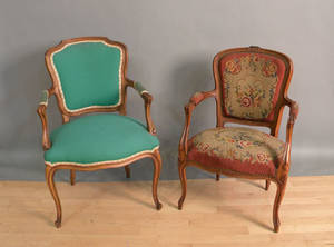 Two French revival armchairs