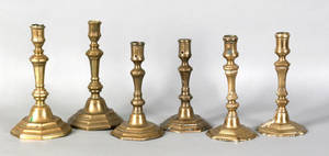 Three pair of French brass candlesticks late 18th c