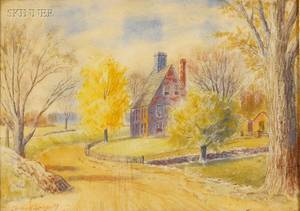 Lot of Two Landscapes American School 20th Century The Glade